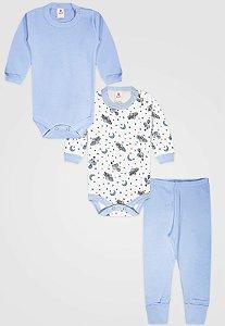 Kit 3pçs Body Zupt Baby Longo Meia Lua Azul