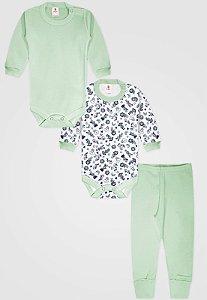 Kit 3pçs Body Zupt Baby Longo Nuvem Verde