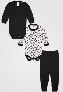 Kit 3pçs Body Zupt Baby Longo Panda Preto