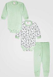 Kit 3pçs Body Zupt Baby Longo Ursinho Verde