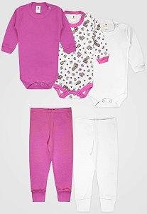 Kit 5pçs Body Zupt Baby Longo Bebê Pink