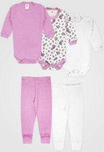 Kit 5pçs Body Zupt Baby Longo Bebê Rosa
