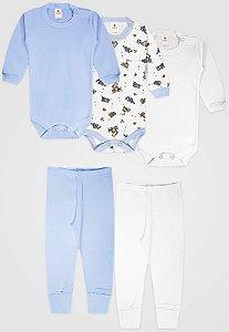 Kit 5pçs Body Zupt Baby Longo Trator Azul