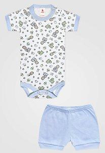 Conjunto 2pçs Zupt Baby Curto Bebê Menino Azul