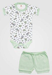 Conjunto 2pçs Zupt Baby Curto Bebê Menino Verde