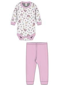 Conjunto 2pçs Zupt Baby Estampado Bebê Rosa
