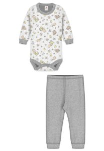 Conjunto 2pçs Zupt Baby Estampado Bebê Mescla Cinza
