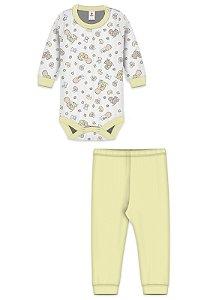 Conjunto 2pçs Zupt Baby Estampado Bebê Amarelo