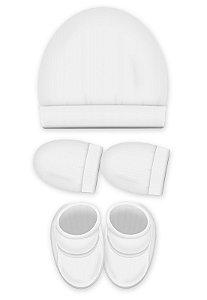 Kit 3 Pçs Touca, luva e Pantufa, Zupt Baby, Branco