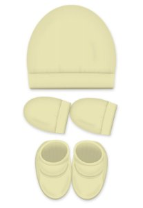 Kit 3 Pçs Touca, luva e Pantufa, Zupt Baby, Amarelo