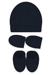 Kit 3 Pçs Touca, luva e Pantufa, Zupt Baby, Azul Marinho