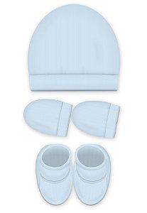Kit 3 Pçs Touca, luva e Pantufa, Zupt Baby, Azul