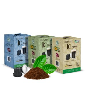Combo Café Orgânico Premium, Gourmet e Clássico Especial Cápsulas 50g
