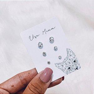 Mix de Brincos de Prata com Cristal