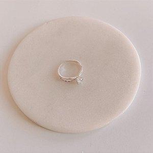 Anel de Prata Solitário com Mini Zircônias