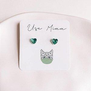 Brinco de Prata Coração Verde