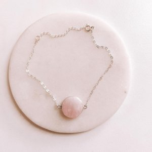 Pulseira de Prata Pedra Natural Quartzo Rosa