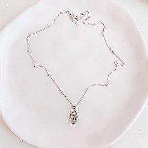 Colar de Bolinhas com Medalha da Virgem de Guadalupe Banhado em Ródio Branco