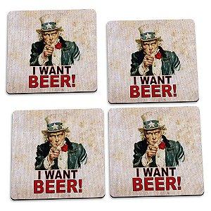 Jogo de Porta Copos 4 Peças I Want Beer Yaay! PCP015