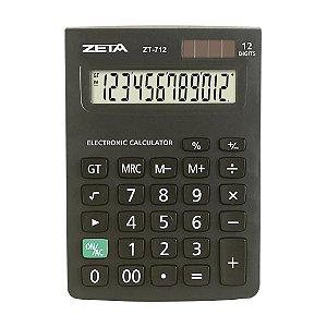 Calculadora de Mesa 12 Dígitos Preta Zeta ZT712