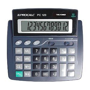 Calculadora de Mesa 12 Dígitos Visor Móvel Procalc PC123