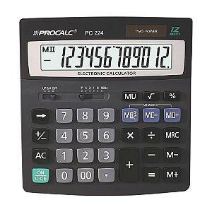Calculadora de Mesa 12 Dígitos Memória Dupla Procalc PC224