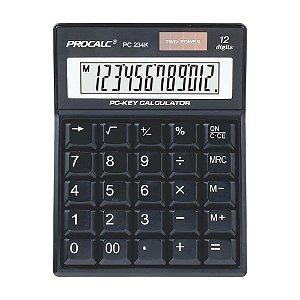 Calculadora de Mesa 12 Dígitos Teclas Tipo PC Procalc PC234K