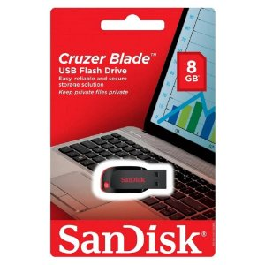Pen Drive 8GB Cruzer Blade USB 2.0 SanDisk SDCZ50-008G-B35