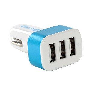 Carregador Veicular 2A USB 3 Portas Hoopson CEL-01-CAR