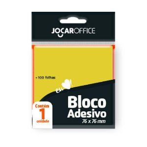 Bloco Adesivo 76x76mm 100 Folhas Amarelo Jocar 91112