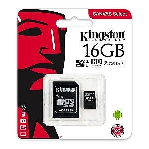 Cartão de Memória SD 16GB Canvas Select Kingston SDCS/16GB