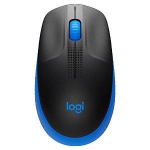 Mouse Óptico Sem Fio 1000 DPI Azul Logitech M190