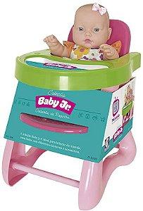 Cadeira de Refeição para Boneca Cotiplás Baby Junior com Boneca - Rosa/Verde