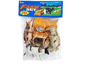 Kit Animais Da Fazenda Farm Set Brinquedo Borracha