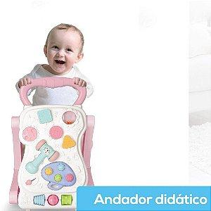 Andador Didático Infantil 2 em 1 Vira Mesinha Star Baby Rosa