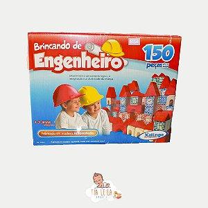 Brincando De Engenheiro Construção Madeira 150 Peças Xalingo