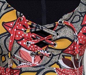 Body Regata - Ilhós Amarração - Folhas Vermelho - Veste Até 48
