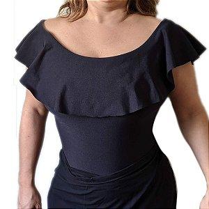 Body Ciganinha Babado - Liso - Veste até 50-  Plus Size  - Tamanho Grande