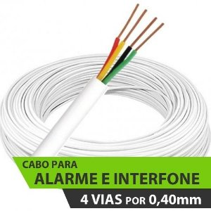 Cabo para Alarme e Interfone - 4 x 40 (4 Vias de 0,40mm)