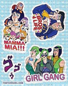Cartela de adesivos - Jojos Bizarre Stickers 1