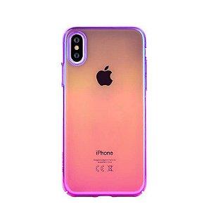 Capa iPhone X aurora roxo e rosa
