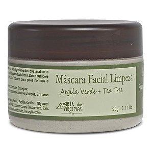 Máscara Facial de Limpeza Natural Argila Verde e Tea Tree 90g - Arte dos Aromas