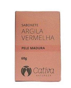 Sabonete de Argila Vermelha Natural para Pele Madura 60g – Cativa Natureza