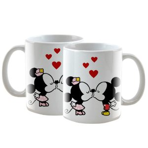 Caneca Personalizada Beijo Mickey e Minnie 325mL