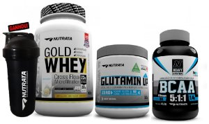 Combo gold whey (900g) + Glutamin Up (300g) + BCAA 5:1:1 (120 caps) - Nutrata