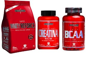 Combo Hipertrofia Whey Reforce 900g + Creatina White Caps (120 caps) + BCAA TOP (120 caps) Integralmedica