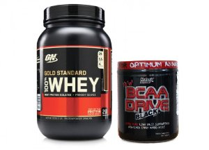Combo 100% Whey Gold Standard 2 Lbs Optimum + BCAA Drive Black (200 caps) Nutrex