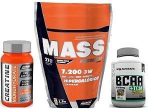 Combo Mass Premium 7.200 3w (1,5 kg) New Millen + BCAA TCM NUTRATA (90 Caps) + Creatina (120 caps) New Millen