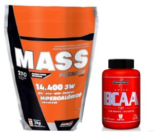 Combo Mass Premium 14.400 3w (3 kg) New Millen + BCAA TOP (120 caps) Integralmedica