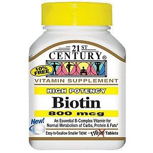 21st Century Biotin - 800 mcg, 110 Tabletes